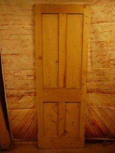 N00a-26-x-75-3-4-Old-Original-Victorian-Reclaimed-Pine-Door-No-Beading