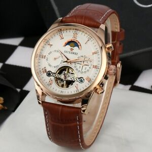 Mens-Flywheel-Leather-Quality-Luxury-Skeleton-Automatic-Mechanical-Watch-Date