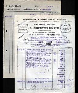"""FECAMP (76) CHAUDRONNERIE """"CONSTRUCTEURS FECAMPOIS / MALANDAIN & GONDREXON"""" 1928 - France - État : Occasion : Objet ayant été utilisé. Consulter la description du vendeur pour avoir plus de détails sur les éventuelles imperfections. Commentaires du vendeur : """"CORRECT"""" - France"""