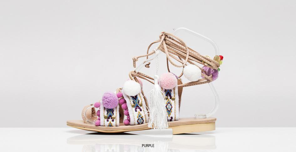 Pom Pom Sandales Penny Lane Lace Up Strap Greek Gladiator Sandales Pom Charms/Tassel (3colors) 462176