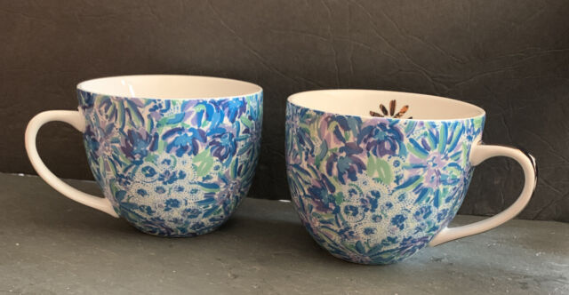 Lilly Pulitzer Set of 2 Ceramic Mugs Blue Floral 12 oz New In Box