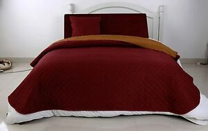 Luxury-Quilted-Reversible-Bedspread-Coverlet-Matching-Fabric-Bags-4pcsSet-Camel