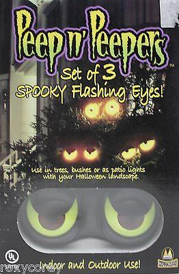 Peep n/' Peepers Flashing Eyes Halloween Lights set of 3 Eyeballs Outdoor Batt Op