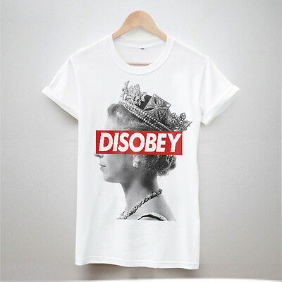 DISOBEY THE QUEEN PRINT T SHIRT TUMBLR HIPSTER WOMEN FRESH SWAG TOP MEN DOPE NEW