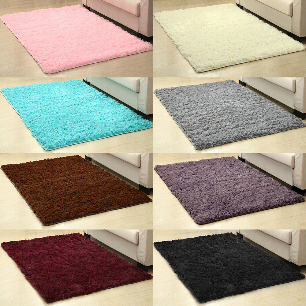 Fluffy Rugs Anti Skid Area Shaggy Rug Living Room Floor Mat Bedroom Home Carpet For Sale Online Ebay