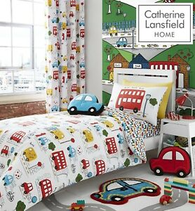 Catherine-Lansfield-Kids-Boy-039-s-Transport-Cars-Bus-Road-Duvet-Cover-Bedroom-Range