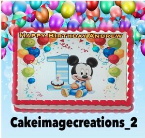 Strange Baby Mickey Mouse Birthday Edible Frosting Image Cake Topper Party Personalised Birthday Cards Sponlily Jamesorg