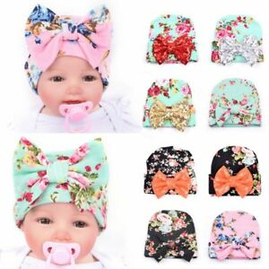 f114dbdd26921 Details about Bow-knot Hat Hospital Cap Floral Beanie Hat for Newborn Baby  Infant Girl Toddler