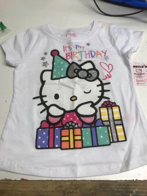 Hello Kitty Little Girls Toddler Happy Birthday T Shirt Bright White
