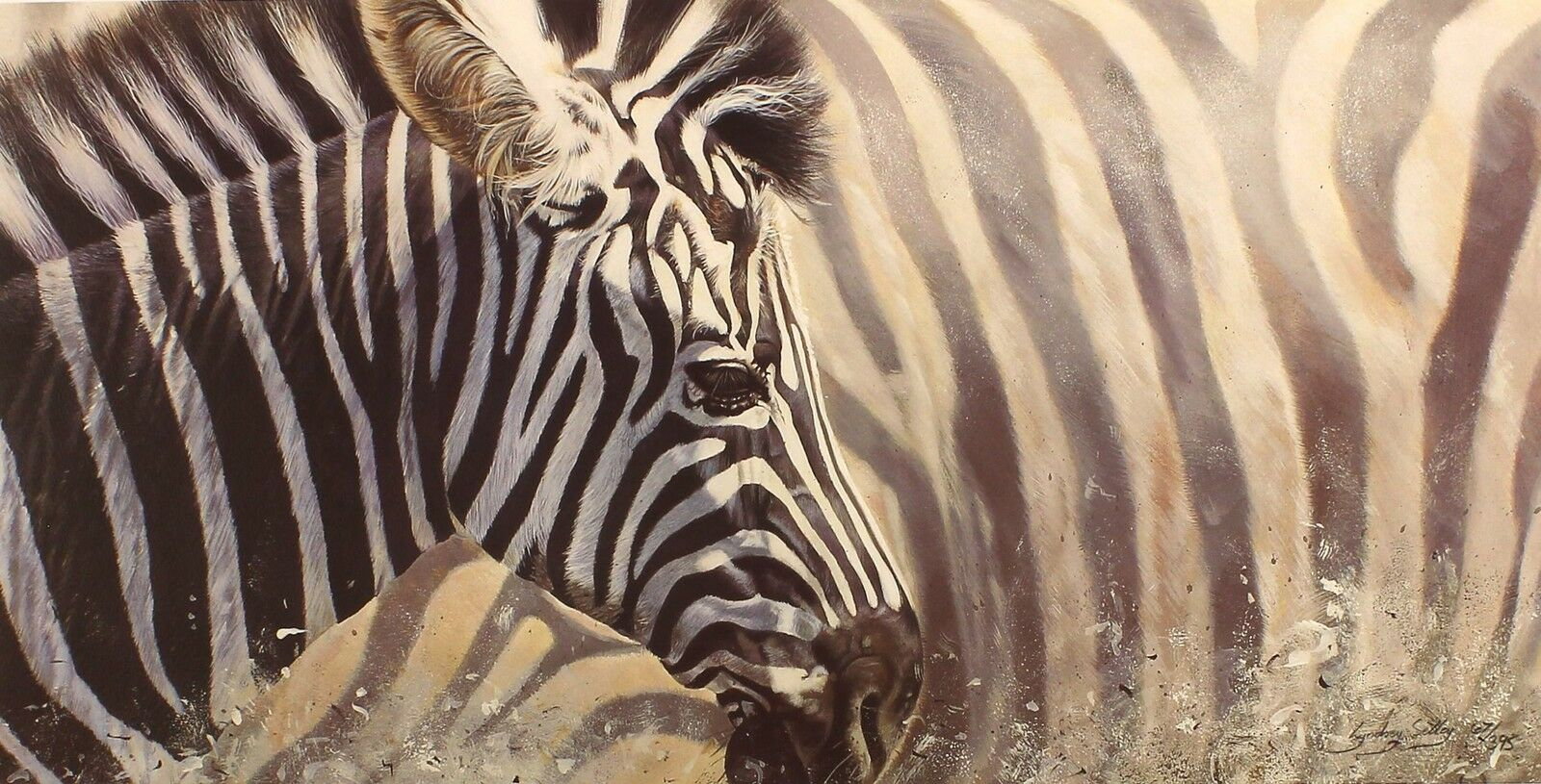 Lyndsey Selley  mix & match  zebra afrique signé ltd ed taille  39cm x 65cm neuf