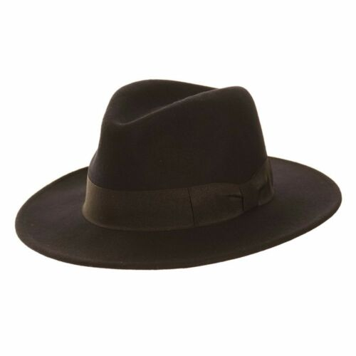 Gents Black 100/% Wool Wide Brim Felt Fedora Trilby Hat With Band and Bow