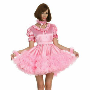 Sissy Maid Pink Puffy Dress Crossdress Pleated Style cosplay Costume Tailor-made