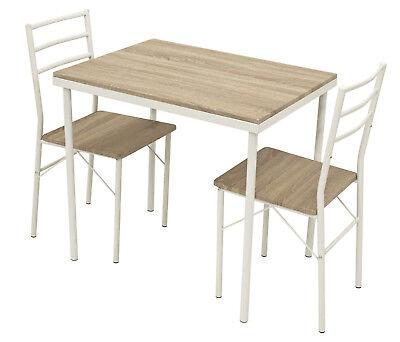 Details zu Essgruppe Tischgruppe Frühstücksset Tisch Stuhl Küchenset KÖLN 3 teilig, weiss
