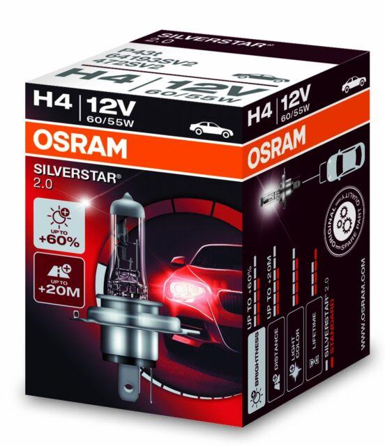 OSRAM H4 60/55 Watt Silverstar 2.0 64193SVS P43t 55W 60W Birne Scheinwerfer 12V