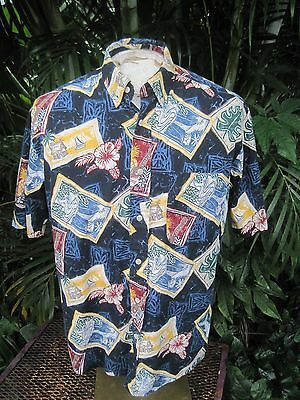 HAWAIIAN Aloha SHIRT M pit to pit 25 NATURAL ISSUE cotton tropical beach palm