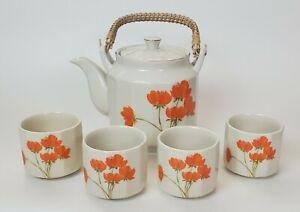 Otagiri-Orange-Poppy-Tea-Set-Ceramic-Teapot-and-Four-4-Cups-Made-in-Japan