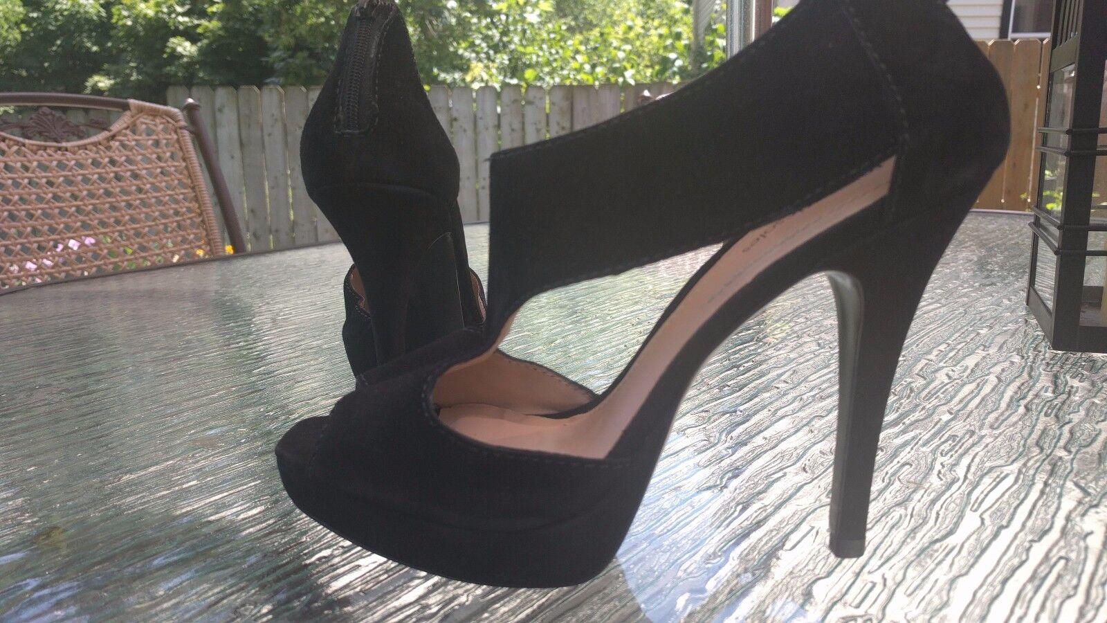 nouveau Rohommetic Soles Clinton pour Femme en Daim Noir Plateforme Talons Chaussures Taille 8.5