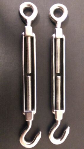 2 x 12mm Hook and Eye Stainless Steel Turnbuckle Straining Screw Grade 316