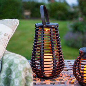 led solar rattan laterne led kerze garten deko beleuchtung au en windlicht ebay. Black Bedroom Furniture Sets. Home Design Ideas