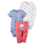Carter-039-s-Baby-Girls-3-Pc-Cotton-Bodysuits-and-Pants-Set-Choose-Size-and-Color thumbnail 4