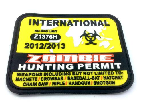 International Zombie World Hunting Permit Yellow PVC Large Airsoft Patch