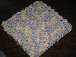 Handmade Crocheted Preemie Blanket Baby Rainbow Pastel Colors