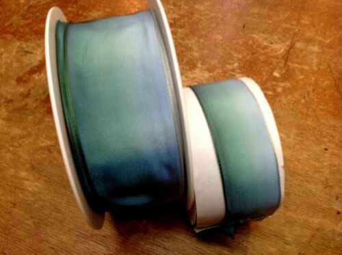 """VINTAGE 7//8/""""or 1.5/"""" FRENCH RIBBON OMBRE 1yd AQUA BLUE GREEN Made in France"""