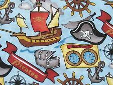 Reststück Sale Kinder Stoffe Piraten Schatzkiste Totenkopf Segelschiff 88x1,12