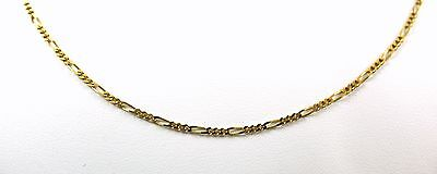 """14KT ITALY SOLID Yellow GOLD 1.3mm  FIGARO LINK CHAIN NECKLACE  18"""" WOMEN'S"""