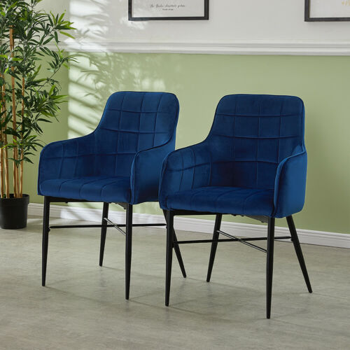 2 Luxury Dining Chairs Faux Leather Velvet Metal Legs Restaurant Accent Armchair 2x Grey,2x Brown,2x Blue