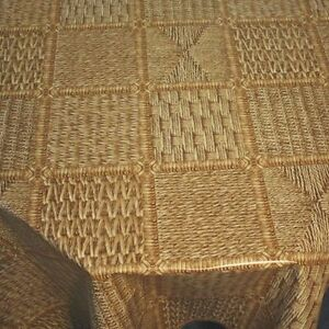 rattan natur braun wachstuch tischdecke tischdeko leicht. Black Bedroom Furniture Sets. Home Design Ideas
