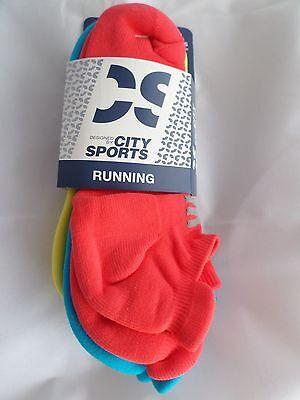 3 Pair City Sport Running No Show Socks Tab Back Heel Guard  6-12 Bright Neon
