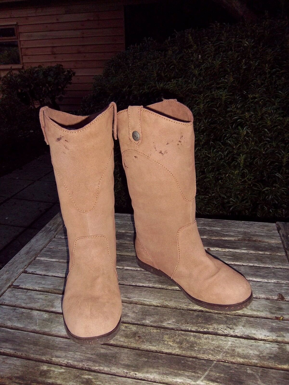 EMU Australia tan brown suede mid calf length ladies flat boots size