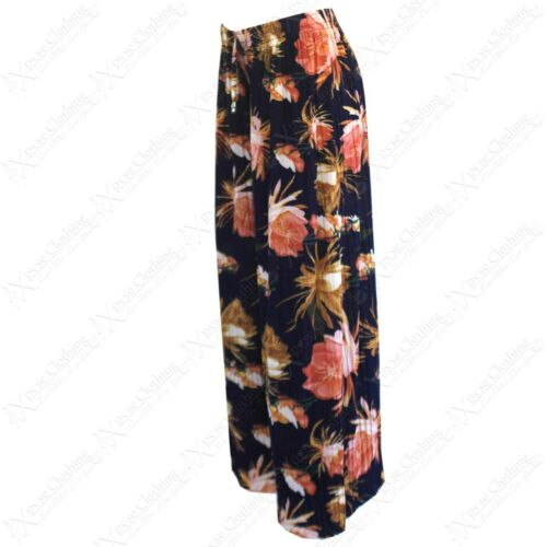 NEW LADIES FLORAL PRINT PLEATED PALAZZO TROUSERS WOMENS LONG FLARED LOOK PANTS