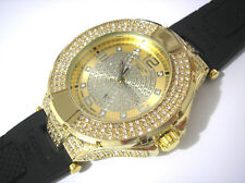 Iced Out Bling Bling Rubber Band Techno King Men's Watch Gold Item 2428