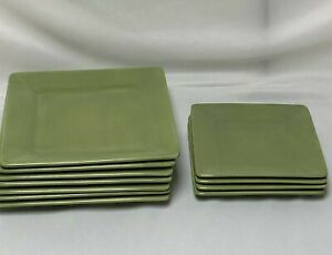 11-PIECE-TABLETOPS-UNLIMITED-MISTO-GREEN-7-SQUARE-DINNER-4-LUNCH-SALAD-PLATES
