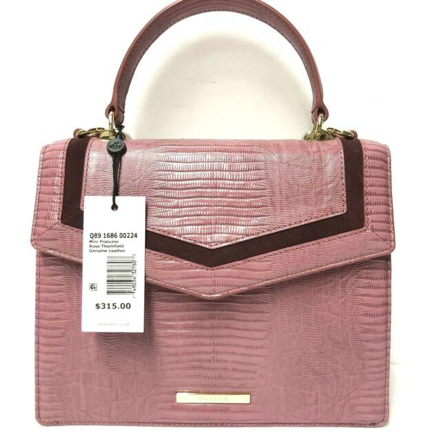 Brahmin Mini Francine Rose Thornfield Pink Leather Suede Lizard Emb Satchel NWT