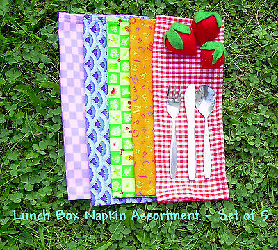 Lunch Box Cloth Napkin Set - Assorted Fabrics - Mini Cloth Napkins - Snack Mats