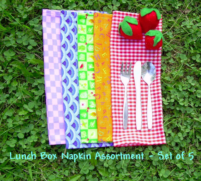 Lunch Box Cloth Napkin Set - Assorted Fabrics - Mini Cloth Napkins - Snack Mats