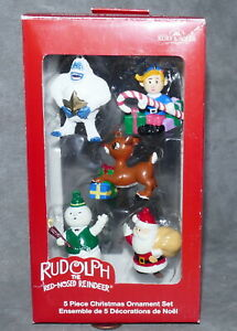 Christmas-Ornament-KURT-ADLER-KSA-RUDOLPH-Resin-Santa-amp-Friends-Total-5-NIB