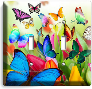Butterflies Tulips Flowers Floral Light Switch 2 Gang Wall Plate Room Home Decor Ebay
