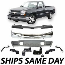 NEW Steel Front Bumper Kit With Brackets 2003-2007 Chevy Silverado 1500 W/o Fog