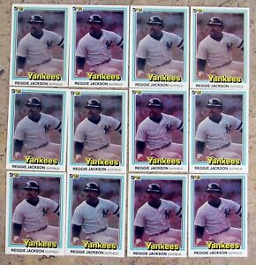 1981-Donruss-468-Reggie-Jackson-HOF-New-York-Yankees-12ct-Card-Lot