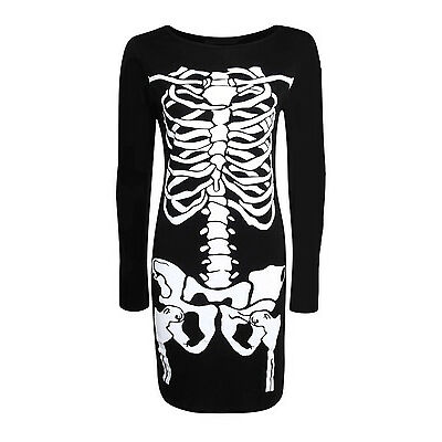 WOMENS HALLOWEEN BODYCON PRINTED SKELETON SKULL FANCY DRESS PARTY COSTUME 8-26
