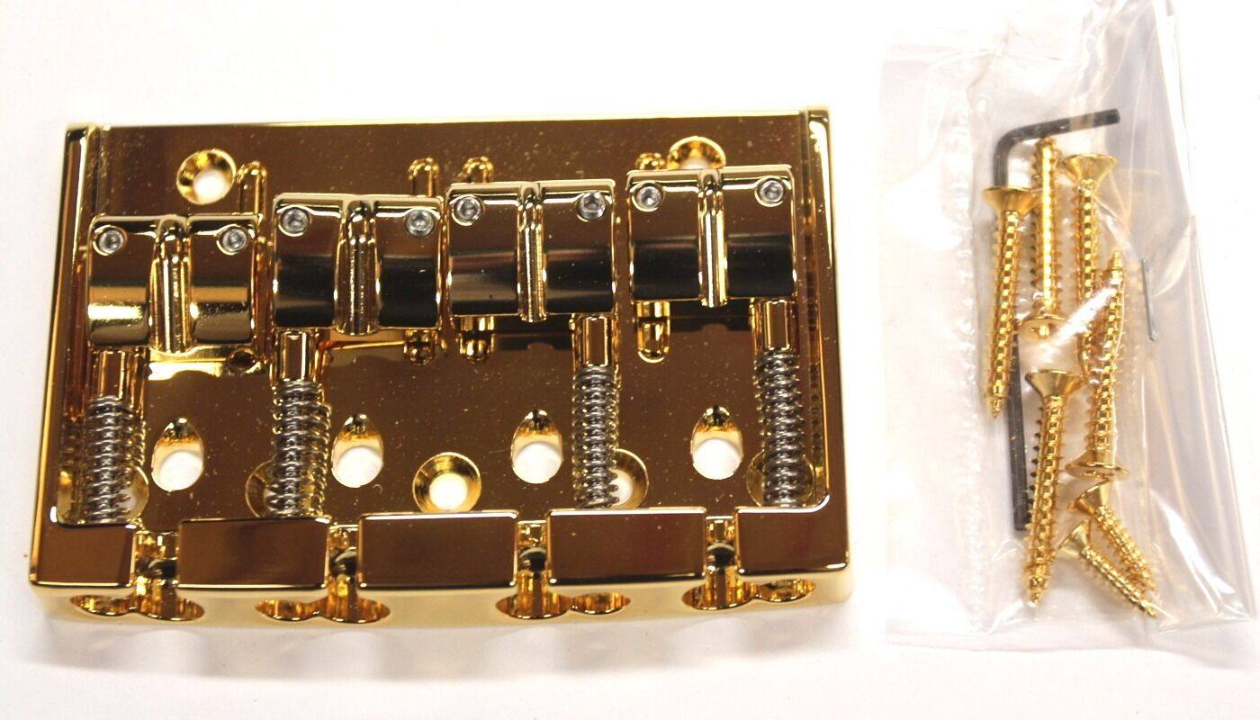 Gotoh 404BO-4 High End Bridge for Electric and Bass Guitar, Gold Finish