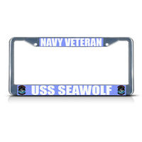 Navy Veteran Uss Seawolf Metal License Plate Frame Tag Border Two Holes