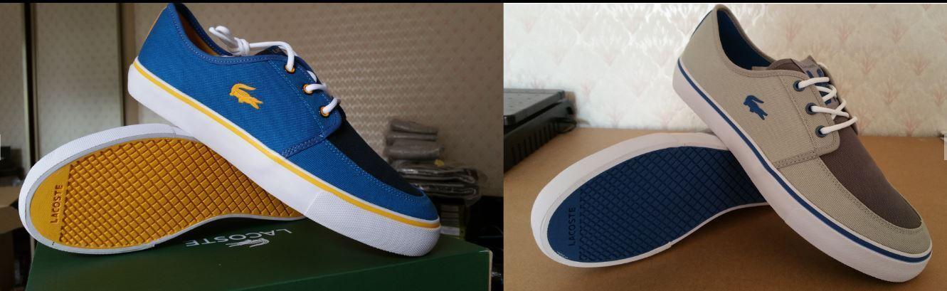Lacoste Vaultstar Men's Canvas Trainers Dark Blue Yellow Lace UP Lo Top Sneakers