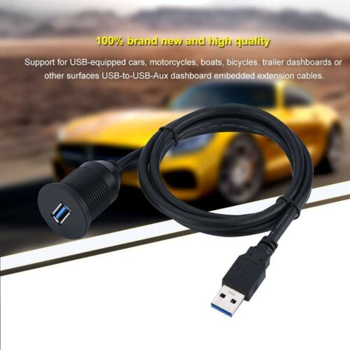 1//2M Car Dashboard Panel Flush Mount Single Port USB 3.0 Socket Extension Cable