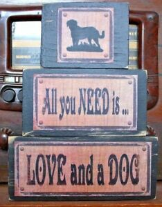 All You Need Is Love And A Dog Primitive Rustic Stacking Blocks