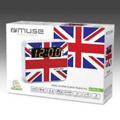 Umorismo Muse M-165 Uk Radio Sveglia Con Fm/mw Pll Sintonizzatore-union Jack Design _ Nuovo-mostra Il Titolo Originale
